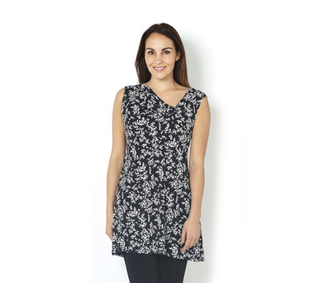Grace Sleeveless Twist Knot Detail Printed Tunic