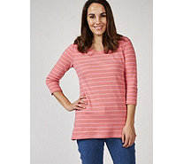 Isaac Mizrahi Live 3/4 Sleeve Striped Tunic - 170153