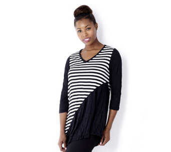 Yong Kim Crinkle V Neck Stripe & Plain Tunic with Asymmetric Hem - 121754