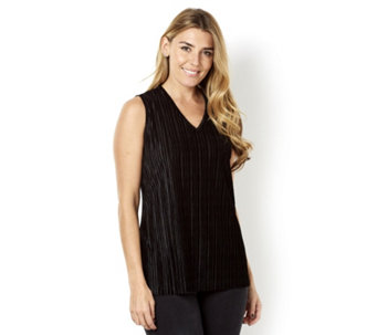 Pleated Velvet Sleeveless Cami Top by Michele Hope - 160654