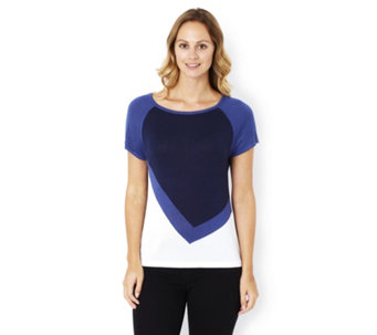 Marble Cap Sleeve Colour Block Fitted Jumper - 162954
