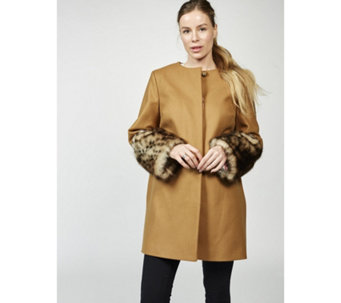 Helene Berman Faux Fur Cuff Coat - 166254