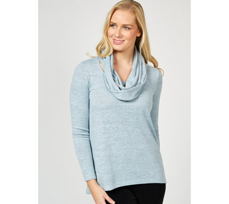 Kim & Co Soft Touch Sweet V Neck Long Sleeve Tunic w/ Infinity Scarf