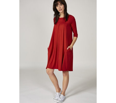Join Clothes 3/4 Sleeve Yoke & Pleat Detail Dress