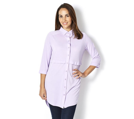 Jersey Button Front Longline Shirt by Michele Hope
