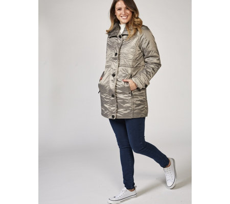 Centigrade Ribbed Fur Collar Polyfill Button Front Coat