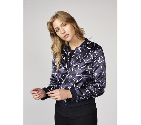 Betty & Co Cream Abstract Angular Print Bomber Jacket