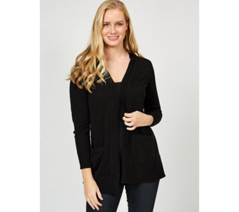 Isaac Mizrahi Live Open Front Rib Detail Cardigan with Shawl Collar - 170155