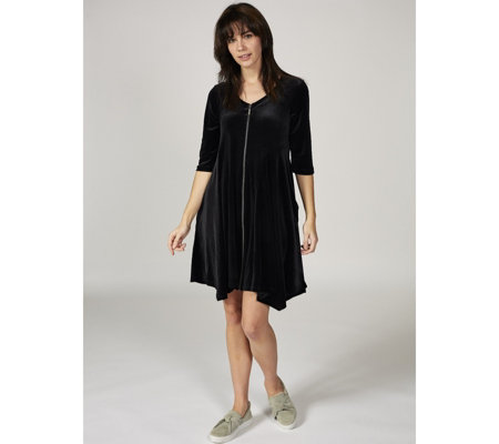 Join Clothes Zip Through Velvet Swing Dress with Pockets