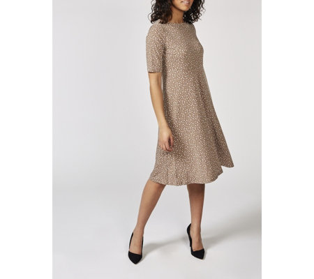 Kim & Co Playful Dots Brazil Knit Elbow Sleeves Flared Dress