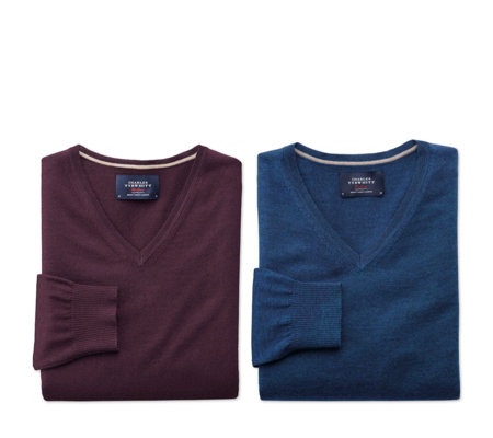 Charles Tyrwhitt Mens 2 Pack Merino Wool V Neck Jumpers