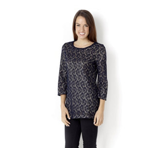 3/4 Bell Sleeve Lace Tunic with Plain Jersey Lining by Nina Leonard - 113256