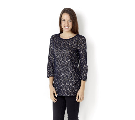3/4 Bell Sleeve Lace Tunic with Plain Jersey Lining by Nina Leonard