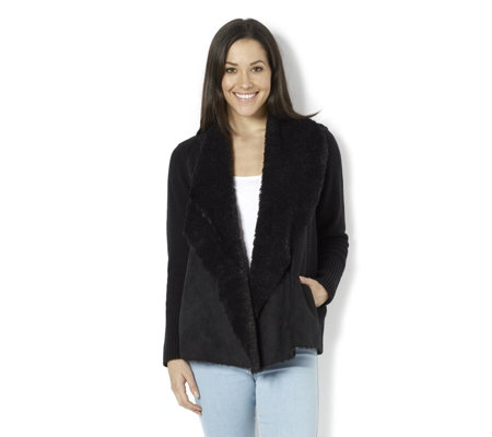 H by Halston Open Flyaway Jacket with Faux Shearling Front