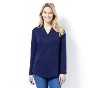 Isaac Mizrahi Live Essentials Knitted Wrap Collar Tunic - 162356