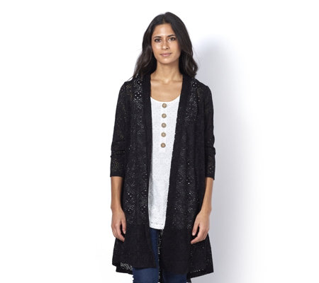 Stretch Lace Longline Godet Back Cardigan by Nina Leonard
