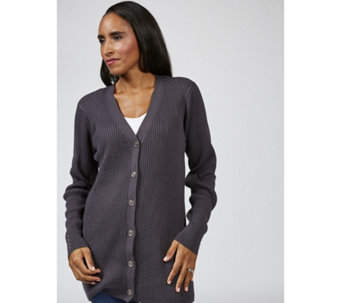 Denim & Co. Ribbed Long Sleeve Button Front Cardigan with Cuff Stud Detail - 167156