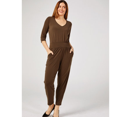 Kim & Co Brazil Knit 3/4 Sleeve Jumpsuit Petite