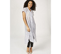 H by Halston Printed Textured Crepe Button Front Duster Regular - 172356