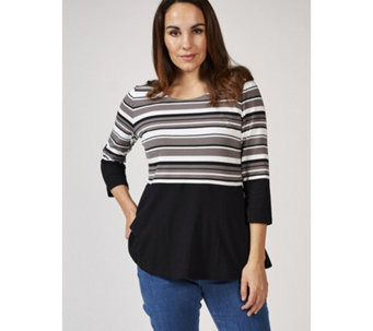 Isaac Mizrahi Live 3/4 Sleeve Colourblock Peplum Top - 170157