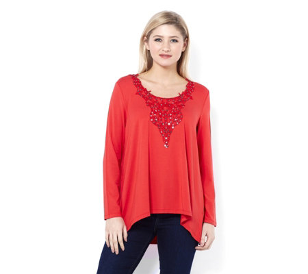 Together Crochet Neckline Tunic with Sequins