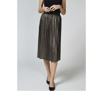 Betty & Co Metallic Printed Pleated Midi Skirt - 168258