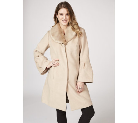 Isaac Mizrahi Live Bell Sleeve Maxi Coat with Removable Faux Fur Collar