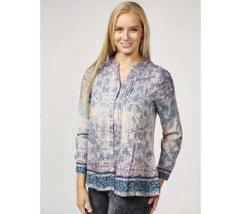 Together Button Through Border Print Shirt - 169858