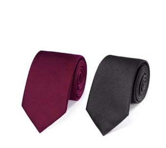 Charles Tyrwhitt Mens 2 Pack Silk Plain Classic Ties - 171458