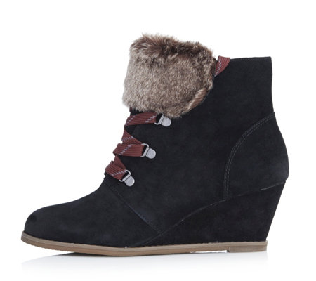 Clarks Lumiere Lace Up Ankle Boot with Wedge Heel & Faux Fur Detail
