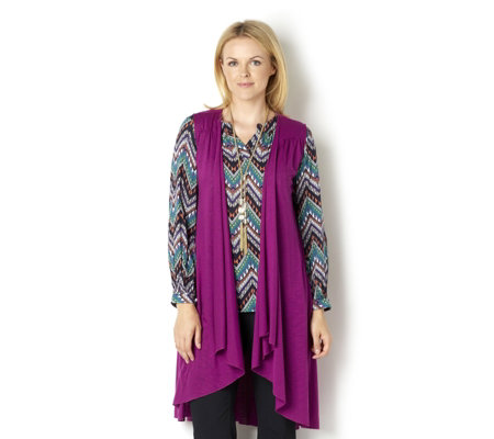 Fashion by Together Jersey Waistcoat with Lace Detail