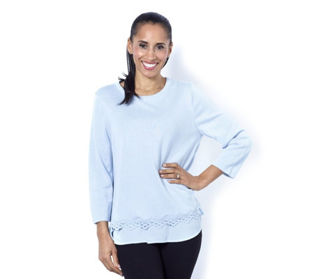 Fashion by Together Woven Jumper with Crochet Trim