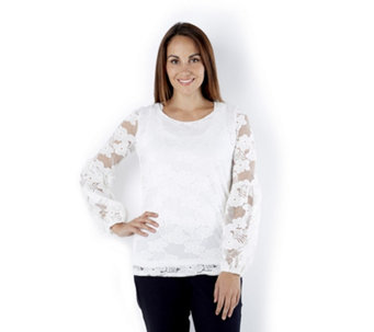 Attitudes by Renee Bishop Sleeves Lace Tunic - 163159