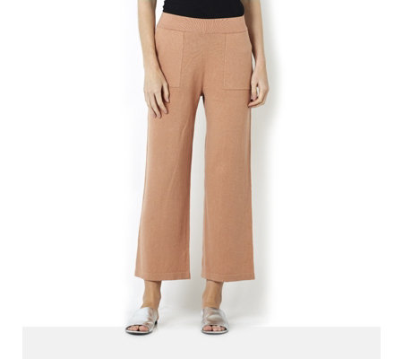 MarlaWynne Crop Easy Knit Trousers with Front Pocket Detail