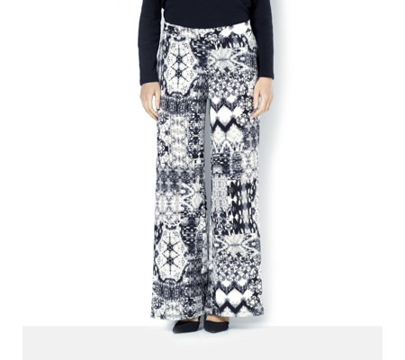 Printed Petite Palazzo Trousers with Elasticated Back Waist by Nina Leonard