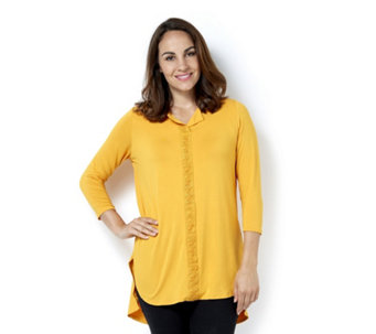 Antthony Designs Short Sleeve Curved Hem Top with Crochet Detail - 166759