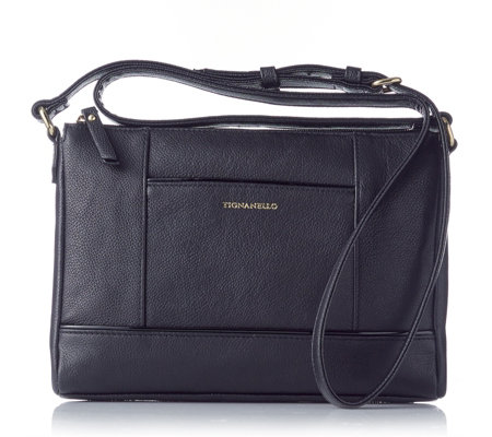 Tignanello Pebble Leather Zip Top Crossbody Bag with RFID Protection