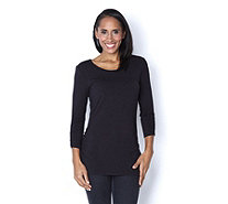 3/4 Sleeve Jewel Neck Tunic by Nina Leonard - 161360