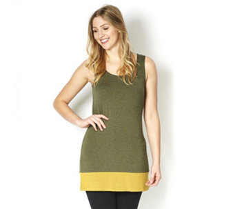 Logo Layers by Lori Goldstein Heather Tank Top with Contrast Hem Detail - 161460
