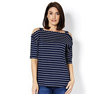 Grace Cold Shoulder Striped Tunic - 167360