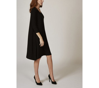 3/4 Sleeve Knit Trapeze Dress with Inverted Pleat Detail by Nina Leonard - 168560