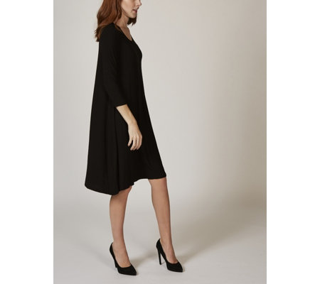 3/4 Sleeve Knit Trapeze Dress with Inverted Pleat Detail by Nina Leonard
