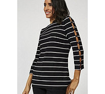 Attitudes by Renee Attitudes by Renee Striped Top with 3/4 Ladder Sleeves - 170560