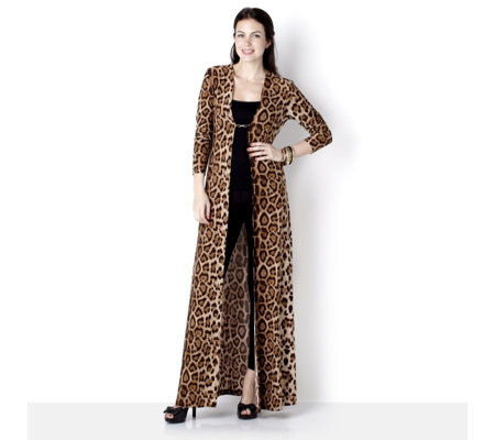 Luxxe Leopard Print Floor Length Sweep Coat