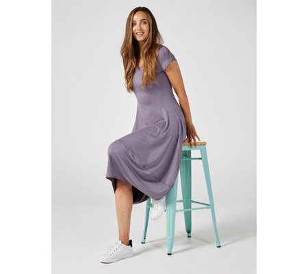Yong Kim Modal V Neck Cap Sleeve Band Hem Dress