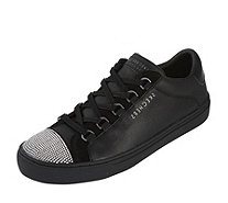 Skechers Street Rhinestone Vamp Leather Cupsole Lace Up Trainer - 165661
