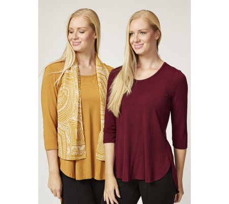 Antthony Designs Pack of 2 3/4 Sleeve Tops with Printed Scarf