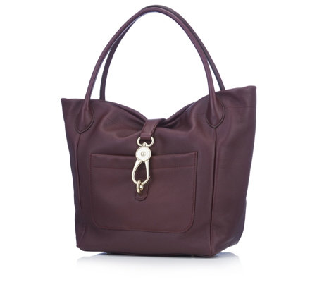 Dooney & Bourke Belvedere Logo Lock Leather Tote Bag