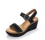Clarks Aisley Orchid Suede Wedge Sandal Wide Fit