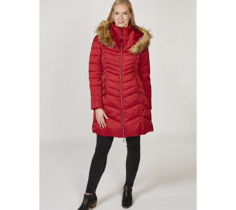 Rino & Pelle Faux Fur Detail Chevron Panel Long Line Padded Coat - 167262